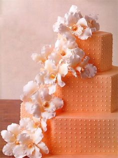 An orange peachy orchid wedding cake Beautiful Wedding Cakes, Gorgeous Cakes, Pretty Cakes, Amazing Cakes, Orchid Wedding Cake, Orchid Cake, Bolo Confetti, Orange Wedding, Apricot Wedding