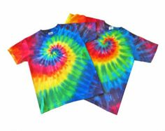 2 Kids Tie Dye T-Shirts Rainbow Spiral TieDye Tees - Choose Two Youth S, M or L TieDyed Spiral Rainbow Tshirts 100 percent Cotton Teeshirts