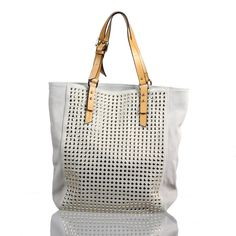 studded white leather tote <3 <3  Would love this!!