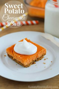 Sweet Potato Cheesecake Bars | a delicious dessert made with a graham cracker crust and a simple filling. Perfect for those that don't like making crust or don't like pumpkin pie!