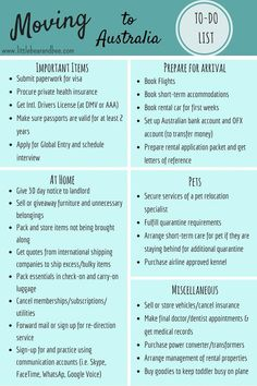 A checklist of all the major things that need to be done before moving to Australia from another country, or before any move abroad. Moving To Australia, Visit Australia, Australia Living, Melbourne Australia, Australia Travel, Australia Destinations, Australia Slang, Study Abroad Australia, Noosa Australia