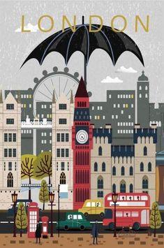 London City Poster, Travel Print, Wall Art, Modern City Post… – Wallpaper World Posters Paris, Posters Decor, Art Posters, City Of London, London Icons, City Poster, Poster Poster, Reproductions Murales, Printable Poster