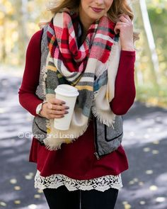Blanket Scarf/Toggle Poncho in Red/Sage Plaid
