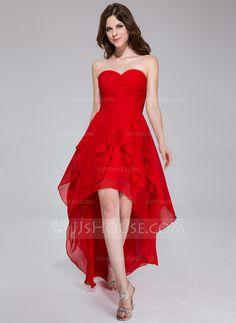 Holiday Dresses - $117.49 - A-Line/Princess Sweetheart Asymmetrical Chiffon Holiday Dress With Ruffle (020037394) http://jjshouse.com/A-Line-Princess-Sweetheart-Asymmetrical-Chiffon-Holiday-Dress-With-Ruffle-020037394-g37394