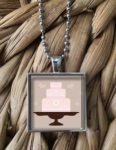 Cake Pendant Necklace by MoonPoppyDesigns on Etsy