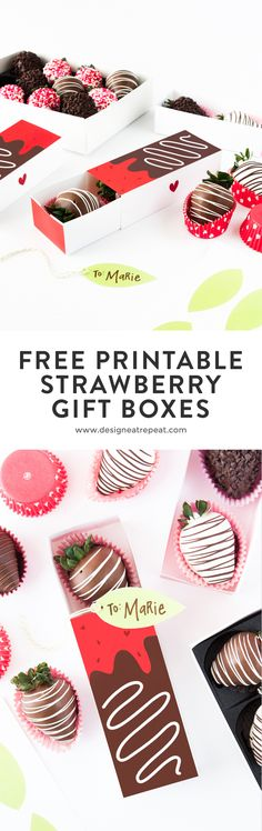 Gift berries in style with these free Printable Chocolate Covered Strawberry Valentine's Day Gift Boxes by Design Eat Repeat! Chocolate Gifts, Chocolate Box, Chocolate Dipped, Strawberry Box, Valentines Gift Box, Chocolate Covered Strawberries, Creations, Free Printable, Gift Boxes