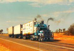 Neville Dobbs stirring up 'Blue Thunder' after a breakfast stop at Wauchope Pub Train Truck, Road Train, Cool Trucks, Big Trucks, Semi Trucks, Old Lorries, Truck Transport, Mack Trucks, Pickup Trucks