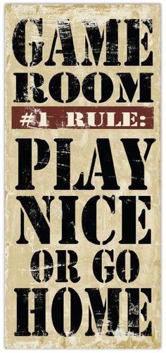Game Room Rules - 8 x 18 Typography Word Art Print. $12.00, via Etsy.