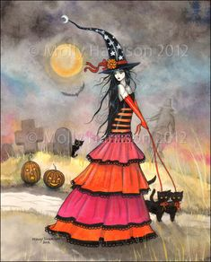 A Halloween Stroll Fantasy Art Original Witch Cat Halloween Archival Giclee Print 9 x 12 on Etsy, $16.00