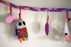 How-To: Make A Storage Garland ForSofties === to clip miscellaneous items to, under shelf or over desk