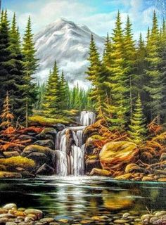 Unframe diy picture oil painting by numbers paint by number for home decor canvas painting waterfall Waterfall Paintings, Scenery Paintings, Nature Paintings, Beautiful Paintings, Beautiful Landscapes, Fantasy Landscape, Landscape Art, Landscape Paintings, Pictures To Paint