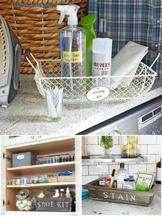 """Clever """"cleaning kits"""" for the laundry room...so the kids don't get confused. 