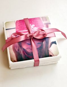 Pin for Later: Make These Sweet and Personal DIY Photo Gifts Cute Coasters Wrap these cute picture coasters up with a ribbon, and you've got the perfect gift for anyone in your life. Christmas Gifts For Friends, Homemade Christmas Gifts, Homemade Gifts, Diy Gifts, Christmas Diy, Xmas Gifts, Homemade Cards, Holiday Fun, Picture Coasters