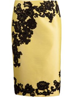Yellow lace detail pencil skirt from Martha Medeiros featuring a concealed rear zip fastening, a rear central vent and black lace sequined panels on the front.