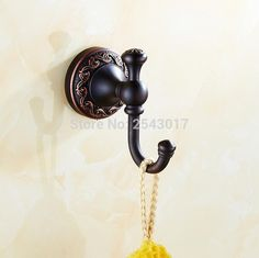Newly Luxury Bathroom Accessories Classic Antique Style Black Bronze Single Robe Hat Coat Hanger Hook Wall Clothes Hooks ZR2107 #Affiliate