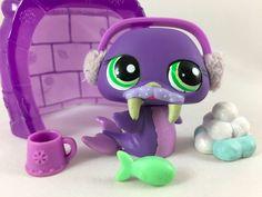 Littlest Pet Shop RARE Purple Walrus #1511 w/Igloo & Accessories #Hasbro