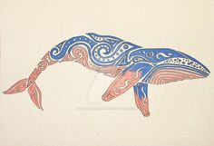 Do you speak whale? HoOoOoW ArRrReEeE YoOoOoOU? Just a cool, blue & coral whale for a good friend of mind! Medium: Indian ink, Prismacolor