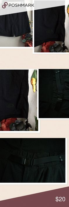 The North Face Men's Hiking Nylon Shorts The North Face Men's Hiking Nylon Shorts. Features: Belted design. 2 side pockets on each sides a total of 4 side pockets. 1 zipper closure back pocket. 1 small Velcro closure pocket for knife etc. color: Black. Size: Large. Material: 100% Nylon. Gently Preowned. If this condition is not right for you do not purchase. Thanks for looking. The North Face Shorts Athletic