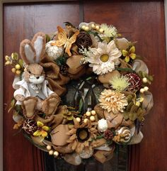 Large Cute Bunny Burlap and Mesh Wreath by HertasWreaths on Etsy