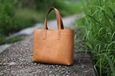 Handmade Leather Tote Bag - made to order. $205.00, via Etsy.