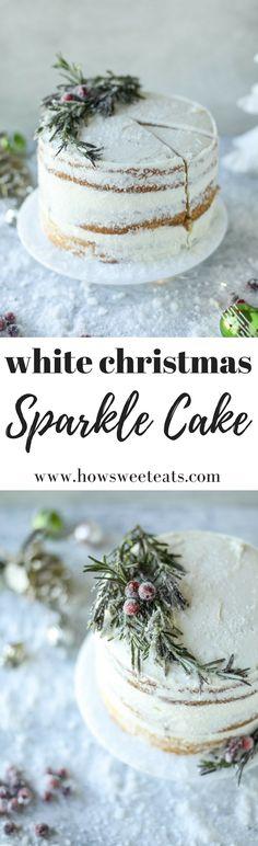 White Christmas Sparkle Cake I howsweeteats.com #christmas #cake
