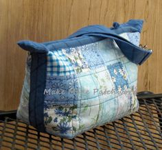 Blue and White Cotton Patchwork Wrist Clutch by MakeMinePatchwork