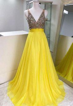 Yellow v neck chiffon beaded long prom dress, #prom #promdress #dress #eveningdress #evening #fashion #love #shopping #art #dress #women #mermaid #SEXY #SexyGirl #PromDresses