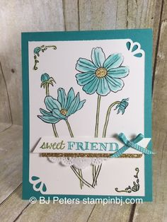 Beautiful Card with Helping Me grow stamp set.  Check out what easy details make this card even more stunning.  http://www.stampinbj.com/2015/12/helping-me-grow-sneak-peak.html
