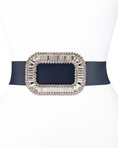 Pilgrim Crystal-Buckle Belt, Navy by Roger Vivier at Neiman Marcus.