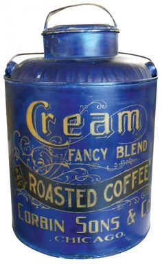 Country store coffee pail, Cream Roasted Coffee
