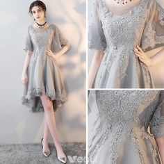 a3e3bb8f9e0 High Low Grey See-through Homecoming Graduation Dresses 2018 A-Line    Princess Scoop Neck Short Sleeve Appliques Lace Asymmetrical Backless Formal  Dresses