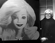 Andy Warhol with his portrait of a Barbie doll, 1986.