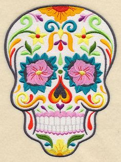 Flor Bonita Sugar Skull  Embr Lib file called Halloween-21 files purch 9-23-15