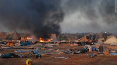 Moroccan forces dismantle a camp housing refugees in the Western Sahara, near Laayoune, on November 8, 2010.