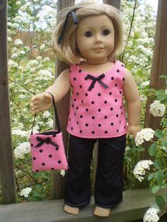 Pink and black polka dot pant set with matching purse