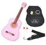 #Strumentimusicali #2: ts-ideen - Chitarra acustica 3/4 per bambini da 8 a 12 anni, accessori inclusi: custodia imbottita, tracolla, corde di ricambio, accordatore a fiato e 2 plettri, colore: Rosa