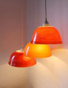 Autumn Harvest - Brick Red and Orange Milk Glass Mixing Bowl Hanging PYREX Pendants Lights - OOAK UpCycled BootsNGus Lighting Fixtures