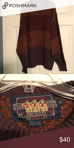Vintage Ralph Lauren sweater size medium Vintage Ralph Lauren sweater. Size medium but could fit any size depending how you want to wear it. A picture of the tag is above. I love the pattern and colors of this sweater. Looks good with leggings and boots. Ralph Lauren Sweaters Crew & Scoop Necks