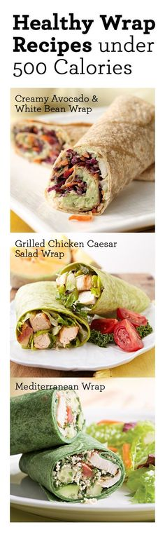 Healthy wrap recipes under 500 calories GREAT for lunches!