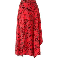 Proenza Schouler Abstract Print Wrap Skirt ($1,550) ❤ liked on Polyvore featuring skirts, all bottoms, bottoms, kirna zabete, mid-calf skirt, draped wrap skirt, proenza schouler skirt, red midi skirt and red knee length skirt