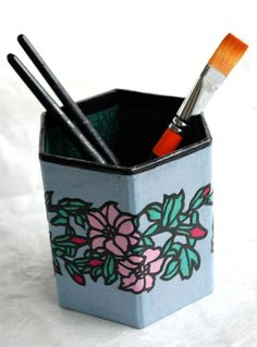 Blue Pink Flower Hanji Pen Holder Pencil Case Desktop by HanjiNaty