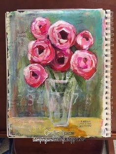 art journal page by Caroline Duncan ~ Stampings and Inklings - abstract roses
