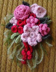 Crochet cashmere pink roses flowers corsage by meekssandygirl Crochet Brooch, Crochet Motifs, Freeform Crochet, Irish Crochet, Knit Crochet, Crochet Patterns, Yarn Flowers, Crochet Flowers, Yarn Crafts