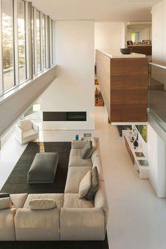 Moderne, innovative Luxus Interieur Ideen fürs Wohnzimmer - weiß und grau