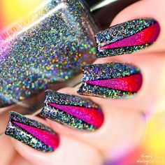 """@simplynailogical - Black holo polish is FUN Lacquer """"Black Witch"""" Pink Holo is SuperChic Lacquer """"Trap Queen"""""""