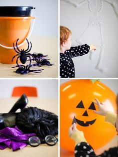 Party Games - toss big rubber spiders in a bucket or pin the face on a pumpkin or pin the stiches on Frankenstein