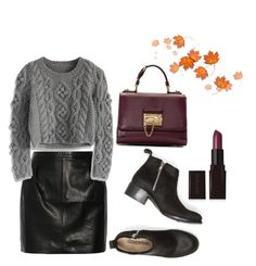 """Knitwear, Leather and Burgundy"" by anyaaa04 on Polyvore featuring BLK DNM, Chicwish, Elizabeth and James, Laura Mercier, Dolce&Gabbana, Leather, knitwear, burgundy and autumninspired"