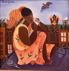 Born and bred in Brooklyn, New York, Laura James is a self-taught painter of Antiguan heritage. Working as a professional artist and illu. Laura James, Entertaining Angels, African Paintings, I Believe In Angels, Effigy, Religious Art, Black Art, Faeries, Folk Art