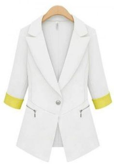 Women's lapel contrast color half sleeve solid color single-breasted slim fit blazers