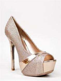 NEW Women Sexy Hot Glitter Peep Toe Pump Metallic Trim Heel Champagne  Miriam87 38807e4e7eda